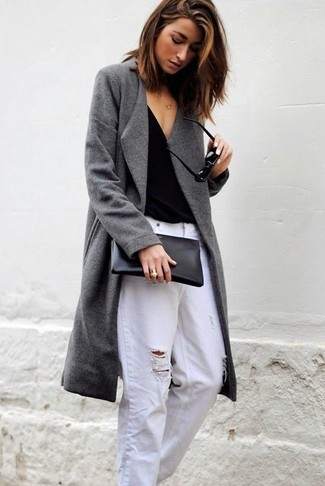 How to wear: black leather clutch, white ripped boyfriend jeans, black v-neck t-shirt, grey coat