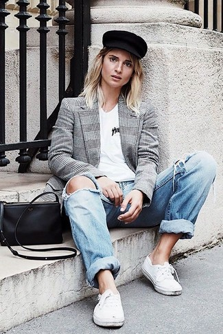 How to wear: white low top sneakers, light blue ripped boyfriend jeans, white v-neck t-shirt, grey plaid double breasted blazer