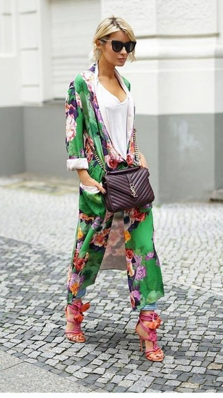 How to wear: hot pink leather heeled sandals, light blue boyfriend jeans, white v-neck t-shirt, green floral duster coat