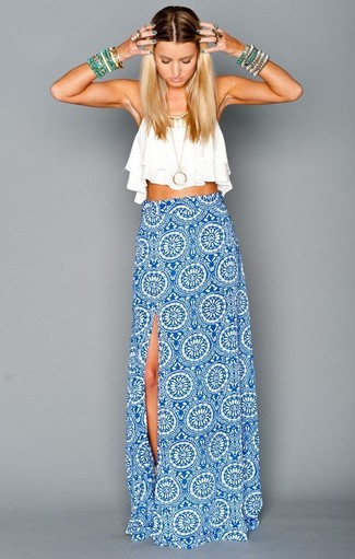 How to wear: gold pendant, green bracelet, white and blue geometric maxi skirt, white cropped top