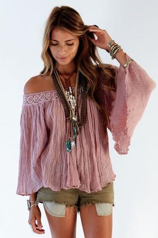 How to wear: brown beaded necklace, gold bracelet, olive denim shorts, pink off shoulder top