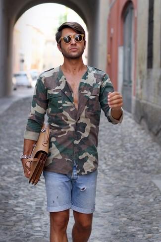 How to wear: tan sunglasses, tan leather briefcase, light blue denim shorts, dark green camouflage long sleeve shirt