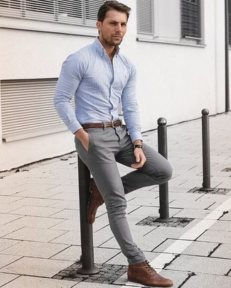 How to wear: brown leather belt, brown leather brogue boots, grey chinos, light blue vertical striped dress shirt