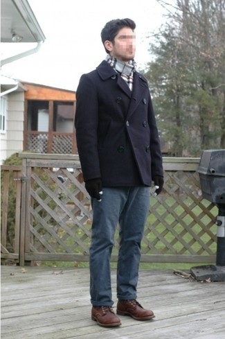 How to wear: grey plaid scarf, dark brown leather brogue boots, navy chinos, navy pea coat