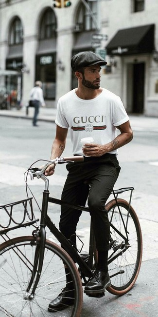 How to wear: charcoal flat cap, black leather brogues, black chinos, white print crew-neck t-shirt