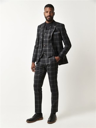 How to wear: black and white polka dot pocket square, black leather brogues, black crew-neck sweater, charcoal plaid three piece suit