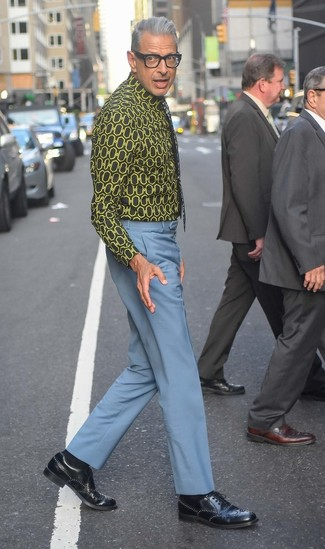 Jeff Goldblum wearing Black Floral Tie, Black Leather Brogues, Light Blue Dress Pants, Black Print Dress Shirt