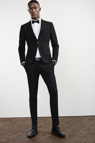 How to wear: black bow-tie, black leather brogues, white dress shirt, black suit