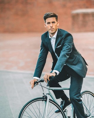 How to wear: navy print pocket square, black leather brogues, white dress shirt, teal suit