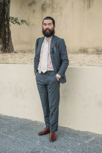 How to wear: beige tie, brown leather brogues, beige dress shirt, charcoal suit