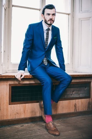 How to Wear Hot Pink Socks For Men: This pairing of a blue suit and hot pink socks is pulled together and yet it looks functional and apt for anything. Rev up the wow factor of your look by rocking brown leather brogues.