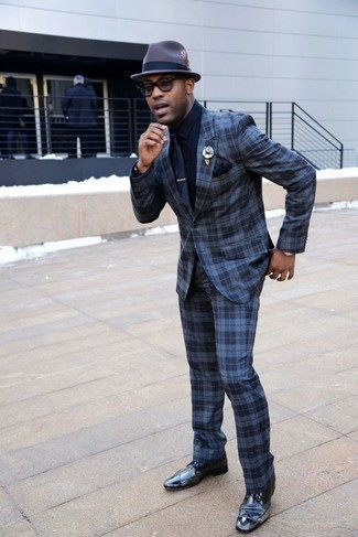 How to Wear a Navy Dress Shirt For Men: For an ensemble that's sophisticated and Bond-worthy, pair a navy dress shirt with a blue plaid suit. To introduce a more laid-back twist to this getup, complete your outfit with navy leather brogues.