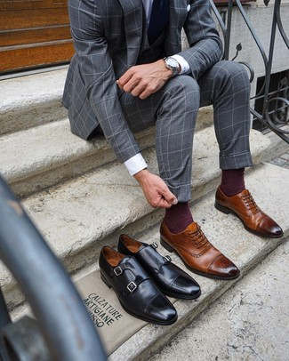 How to wear: navy tie, brown leather brogues, white dress shirt, grey check three piece suit