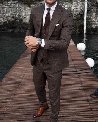 How to wear: dark brown tie, brown leather brogues, white dress shirt, dark brown three piece suit