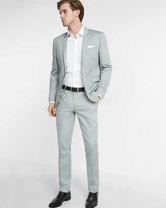 How to wear: white pocket square, black leather brogues, white long sleeve shirt, grey suit