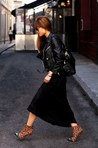How to wear: black leather tote bag, brown leopard suede ankle boots, black maxi dress, black leather biker jacket