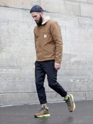 How to Wear a Tan Harrington Jacket: The formula for knockout laid-back style for men? A tan harrington jacket with navy chinos. A pair of brown athletic shoes immediately turns up the cool of this outfit.