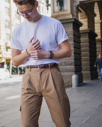 How to wear: black leather watch, brown woven leather belt, khaki cargo pants, white crew-neck t-shirt