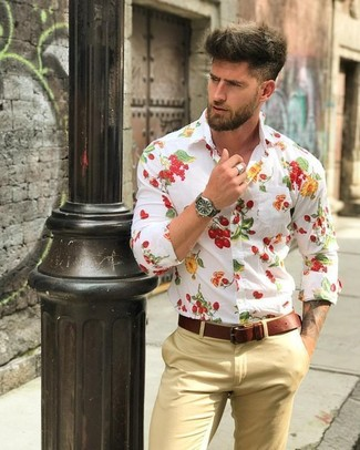 How to wear: black leather watch, brown leather belt, khaki chinos, white floral dress shirt
