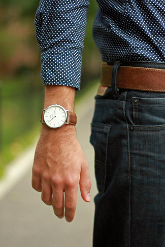 How to wear: brown leather watch, brown leather belt, navy jeans, navy polka dot long sleeve shirt