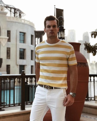 How to wear: silver watch, brown leather belt, white chinos, yellow horizontal striped crew-neck t-shirt