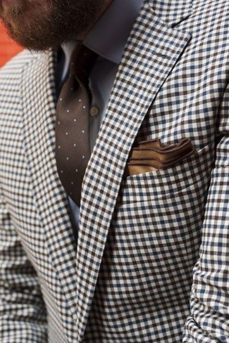 How to wear: brown gingham blazer, grey dress shirt, brown polka dot tie, brown pocket square