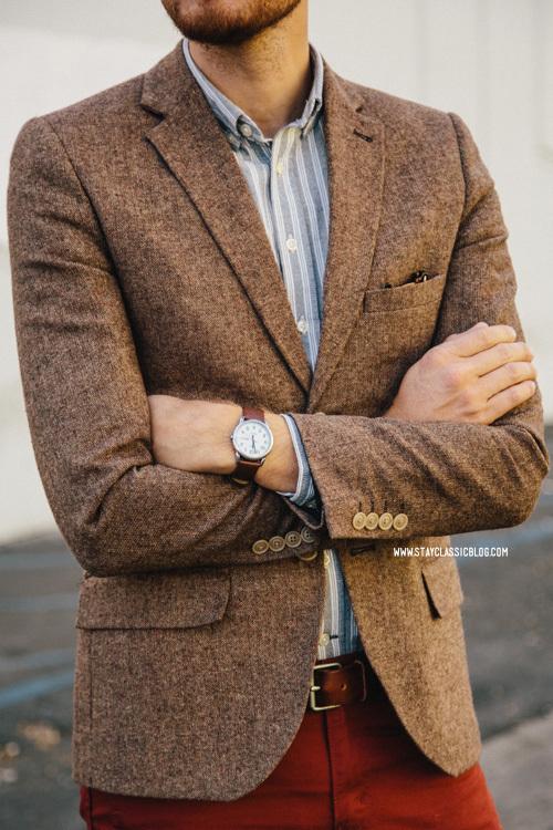 Tweed Sports Jacket V Neck Sweater White Shoes