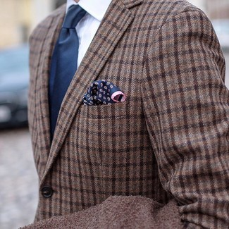 How to wear: brown plaid wool blazer, white dress shirt, navy tie, navy paisley pocket square