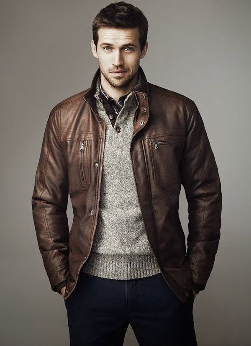 Men S Brown Leather Bomber Jacket Grey Henley Sweater White And