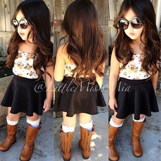 How to wear: white socks, brown boots, black skirt, white tank top