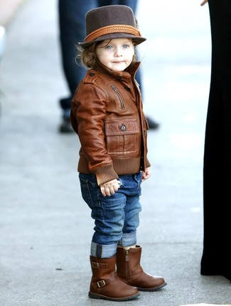 How to wear: dark brown hat, brown leather boots, blue jeans, brown leather jacket
