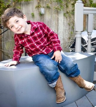 How to Wear Brown Boots For Boys: For an everyday outfit that is full of character and personality reach for a red plaid long sleeve shirt and blue jeans for your little angel. As far as footwear is concerned, suggest that your kid throw in a pair of brown boots.