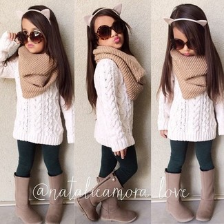 How to wear: tan scarf, brown boots, dark green leggings, white sweater