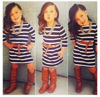 How to wear: brown boots, navy horizontal striped dress