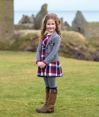 How to wear: grey tights, brown boots, red and navy plaid dress, grey cardigan