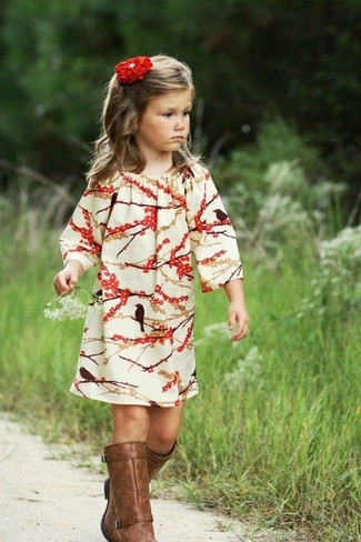 How to wear: brown boots, white and red dress