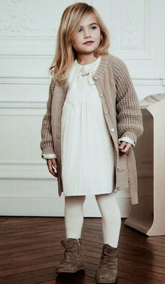 How to wear: white tights, brown suede boots, white dress, beige knit cardigan