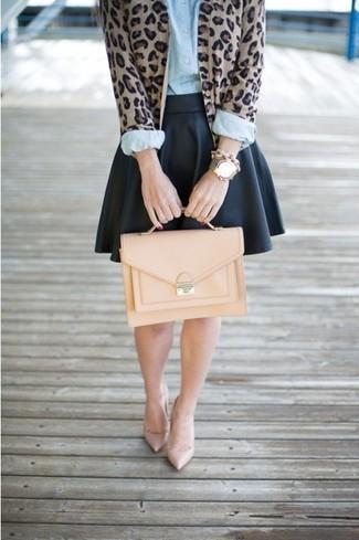 Brown cardigan light blue dress shirt black skater skirt large 66