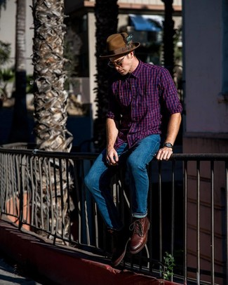 How to wear: brown wool hat, brown leather casual boots, blue jeans, purple gingham long sleeve shirt