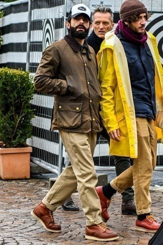 How to Wear Khaki Chinos: Team a brown barn jacket with khaki chinos if you wish to look casually cool without too much work. Ramp up the classiness of this outfit a bit by slipping into brown leather casual boots.