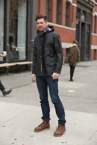 How to Wear Brown Leather Casual Boots For Men: For a casual and cool getup, go for a black windbreaker and navy jeans — these two pieces go pretty good together. For something more on the sophisticated side to finish this ensemble, introduce a pair of brown leather casual boots to the equation.