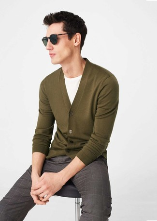How to wear: brown check dress pants, white crew-neck t-shirt, olive cardigan