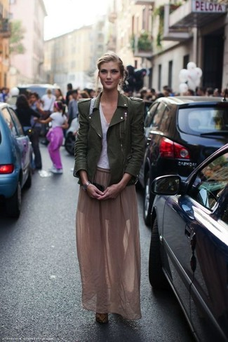 How to Wear an Olive Leather Biker Jacket For Women: Putting together an olive leather biker jacket and a brown chiffon maxi skirt will prove your styling prowess even on lazy days.