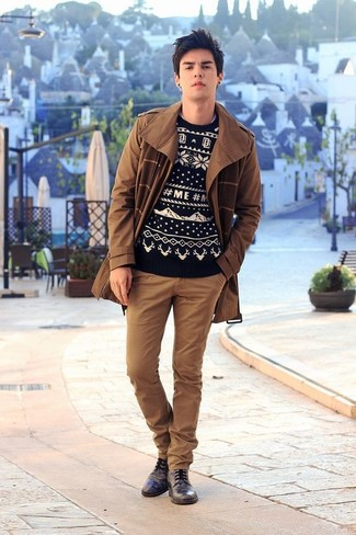 How to wear: black leather derby shoes, brown chinos, black and white fair isle crew-neck sweater, brown trenchcoat