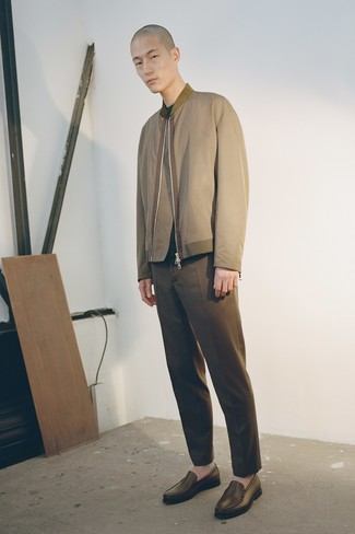 How to wear: brown leather loafers, brown chinos, dark green crew-neck sweater, olive bomber jacket