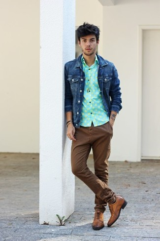 How to wear: brown leather brogues, brown chinos, mint polka dot long sleeve shirt, navy denim jacket