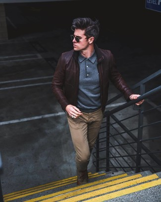 How to wear: olive canvas derby shoes, brown chinos, navy polo neck sweater, dark brown leather bomber jacket