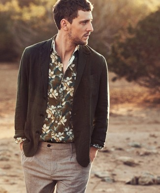 How to wear: brown chinos, olive floral long sleeve shirt, olive blazer