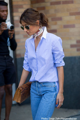 How to wear: white and red floral scarf, brown snake leather clutch, blue jeans, light blue dress shirt