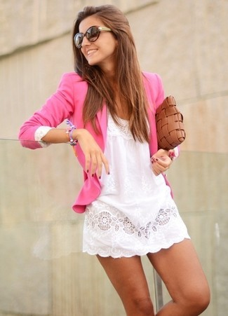 How to wear: dark brown sunglasses, brown woven leather clutch, white lace casual dress, hot pink blazer
